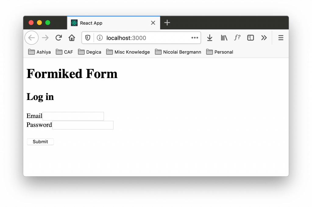 Form refactored to use Formik