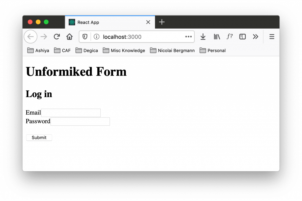 Form before refactoring to use Formik