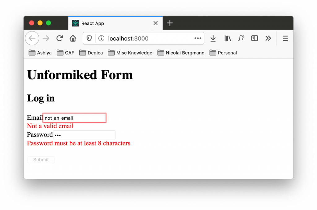 Validation errors for unformiked form